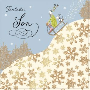 Son Christmas Card with Gold Foiling, Contemporary Design and Red Envelope KIS15